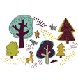 Forest and animals isolate on white nature design vector image vector image