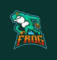 frog esport mascot logo design vector image vector image
