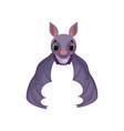 funny purple bat flying cute creature cartoon vector image vector image