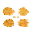 gold paint brush strokes set design vector image vector image