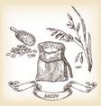 hand drawn sack grain meal oats vector image