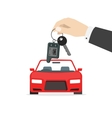 Hand holding car keys near auto isolated vector image