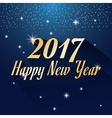 happy new year 2017 greeting card glowing blue vector image