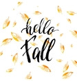 Hello fall text isolated on orange leaves vector image vector image