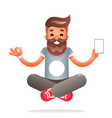 hipster geek meditate new smartphone mobile apps vector image