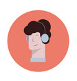 icon a man with headphones listening vector image vector image