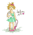 Little girl in mothers high heel shoes vector image vector image