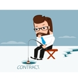 lucky businessman catches fish in ice hole vector image