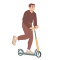 man ride on scooter summer leisure activity vector image