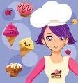 manga girl chef vector image vector image