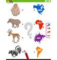 match animal species and continents educational vector image vector image