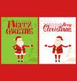 merry christmas santa claus celebrate xmas time vector image vector image
