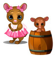 mouse in dress and baby mouse bathing in barrel vector image