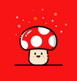 mushroom on a red background vector image vector image