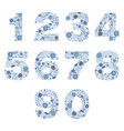 number floral blue porcelain decorative elements vector image vector image
