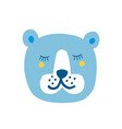 Pretty bear face with closed eyes isolated on