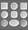 realistic plates food dish empty clean bowl vector image vector image