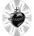 sacred heart jesus with symbols the vector image