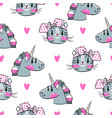 seamless pattern with faces cats and rainbow vector image vector image