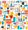 seamless pattern with garden tools and icons all vector image vector image