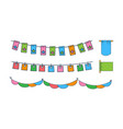 set different bunting flags colorful vector image vector image