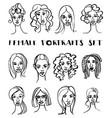 set female doodle hand drawn portraits black vector image vector image
