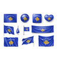 set kosovo flags banners banners symbols vector image