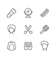 set line icons of hairdressing vector image