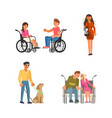 set of disabled people vector image vector image
