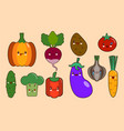 set of vegetables smiley face kawaii characters vector image vector image