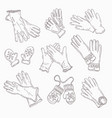 set white rubber gloves for cleaning vector image