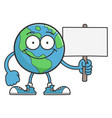 Smiling happy planet earth cartoon character