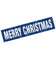 square grunge blue merry christmas stamp vector image vector image
