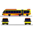 three views of city bus on the road vector image vector image