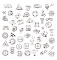 travel and navigation sketches icons set vector image vector image