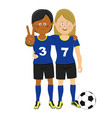 two female soccer players hugging posing with ball vector image vector image