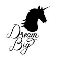 unicorn head silhouette with text vector image vector image