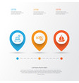 vehicle icons set collection of sailboat flight vector image vector image
