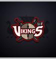 vikings sport logo dark emblem vector image