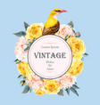 vintage card with roses and bird vector image vector image