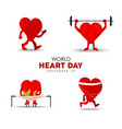 world heart day card for exercise and nutrition vector image