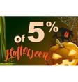 5 percent discount Halloween Sales pumpkin vector image vector image