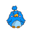 adorable tropical bird with blue fluffy feathers vector image
