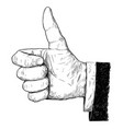 artistic or drawing of thumb up businessman hand vector image