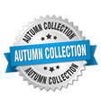 autumn collection 3d silver badge with blue ribbon vector image vector image
