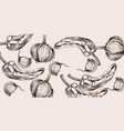 autumn veggies pattern line art pepper and onion vector image vector image