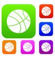 basketball ball set color collection vector image