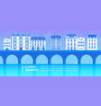big modern city on river view cityscape silhouette vector image