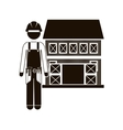 Black silhouette builder with helmet and house vector image