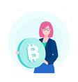 businesswoman with bitcoin - flat design style vector image vector image